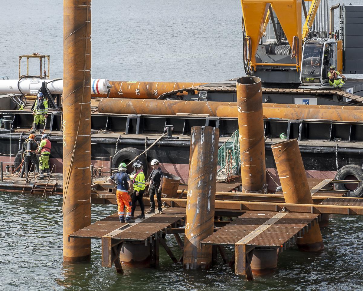 Pålningen av Lilla Lidingöbron fortsätter