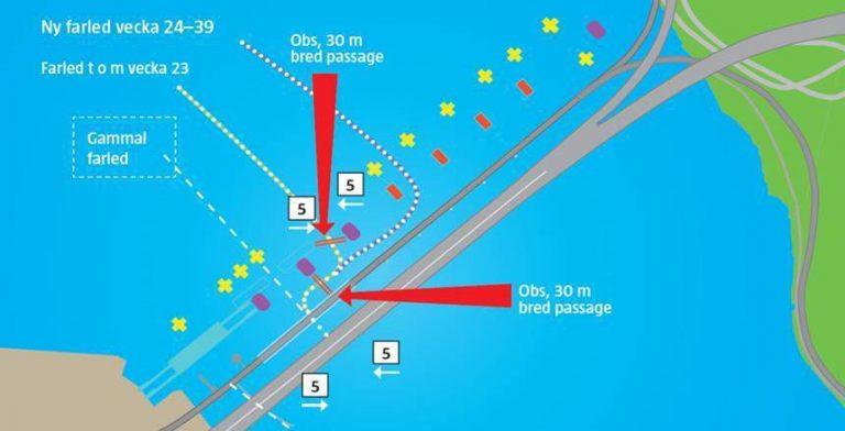 Nya farleder vid Lidingöbroarna och sänkt hastighet