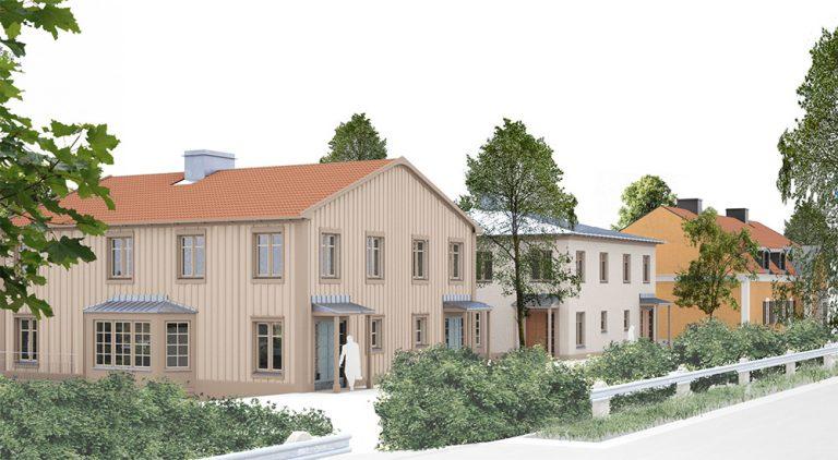 Sex st parfamiljhus byggs på Villa Breviks tomt