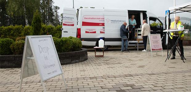 Vaccinationsbuss för drop-in covid-19 på Lidingö
